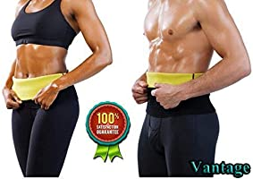Vantage® Shaper Belt Non-Tearable Tummy Trimmer Slimming Belt for Men and Women (Size M, L, XL, XXL, 3XL, 4XL) (Black)