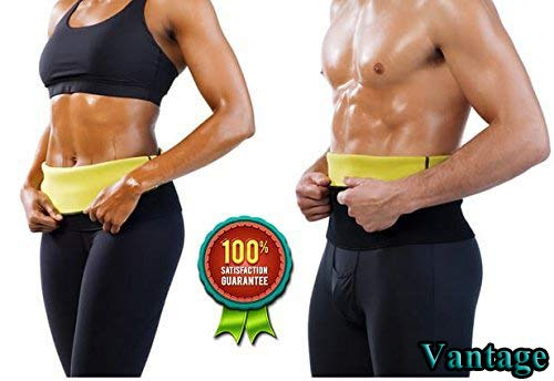 Vantage® Shaper Belt for Fat Loss, Sauna Slim Belt for Weight Loss Waist Trainer - Tummy Trimming Exercise for Both Men and Women (Size M, L, XL, XXL, 3XL, 4XL) (Black)