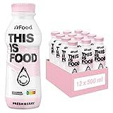YFood Berry | Batido Sustitutivo | Sustitutivo de comida sin lactosa ni gluten | 33g de proteínas, 26 vitaminas y minerales | 25% de las calorías diarias requeridas | 12 x 500 ml (1kcal/ml)