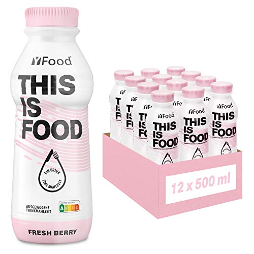 YFood Berry Ready to Drink Meal | Lactose and Gluten-Free Meal Replacement | 34 g of Protein, 26 Vitamins and Minerals |25% of Daily Calorie Requirement | 12 x 500 ml (1 kcal/ml)