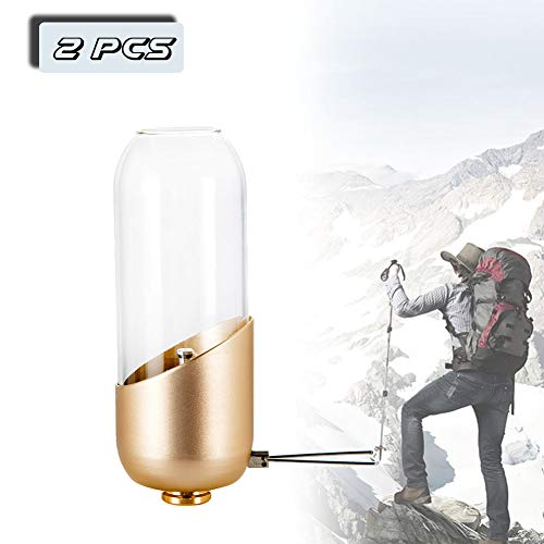 EnweLampi Portable Lumière De Extérieur Gaz, Multifonction Combustible Camping Lanternes, Luminosité Réglable pour Randonnées, Urgences, Panne Électrique (2 Pcs)