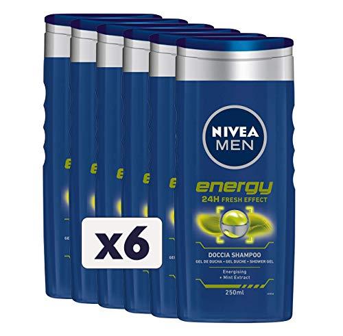 NIVEA MEN Energy Fresh Effect - Champú de ducha para hombre, 6 x 250 ml, gel de ducha para cuerpo, cara y cabello, champú para hombre con extractos de menta
