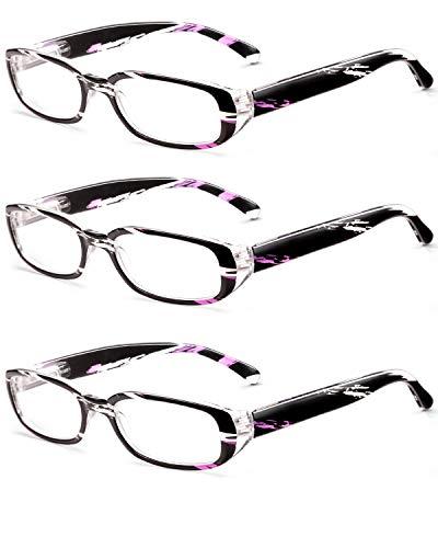 ROSA&ROSE Blaulichtfilter Brillen Computer Gaming Brillen Anti Müdigkeit Lesebrille für Herren Damen (3PACK Lila)