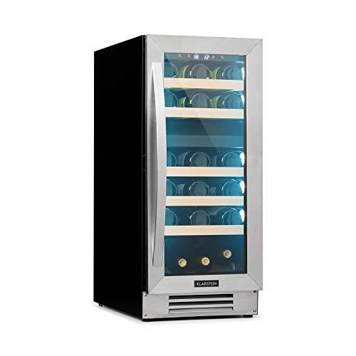 Klarstein Vinovilla - Built-in Duo Wine Cooler, Built-in, 2 Cooling Zones, 29 Bottles / 74 litres, Top: 5-12 ° C/Bottom: 12-20 ° C, Glass Door, 3-Colour Interior Lighting, EEC B, Stainless Steel