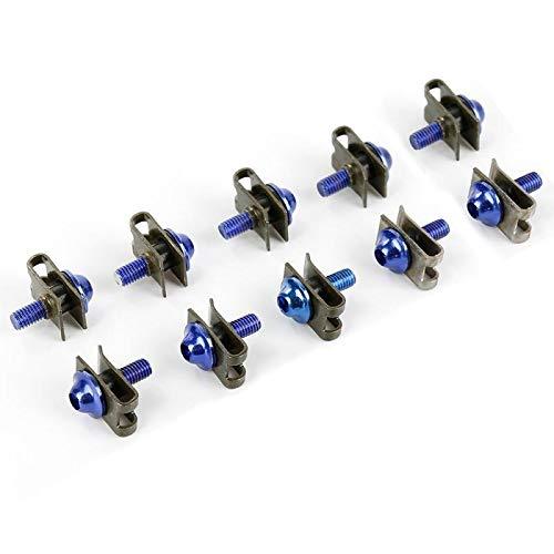 BGTR 10 unids/set Motorcycle Shell Tornillo de 5 mm M5 Tornillos de carga de aluminio Sujón Clip Tornillo Tuercas de resorte Accesorios de Motocicleta Universal (Color Name : Azul)