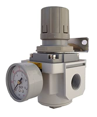 "PneumaticPlus SAR3000M-N03BG Air Pressure Regulator, 3/8"" Pipe Size, NPT with Gauge and Bracket by PneumaticPlus"