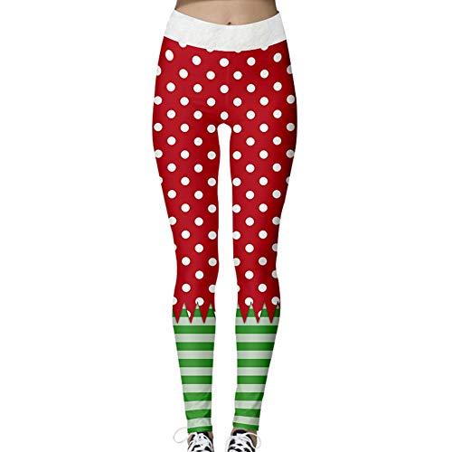 Jaimenalin Christmas Leggings Women's Santa Claus Leggings Holiday Pants Autumn And Winter Tight Elastic Leggings Green XL