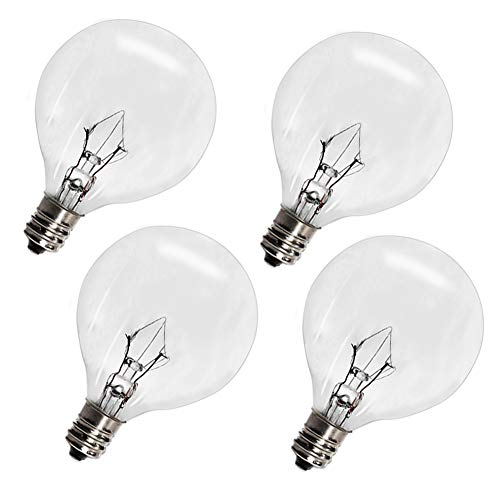 Wax Warmer Bulbs,25 Watt G50 Bulbs for Full Size Scentsy Warmers,G16.5 Globe E12 Incandescent Candelabra Base Clear Light Bulbs for Candle Wax Warmer,1.97 Inches,Long Last Lifespan 4 Pack