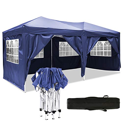 Carpa Impermeable Plegable 3x6 Cenador Jardin Exterior 3 Regulables en Altura para Camping Playa Fiesta