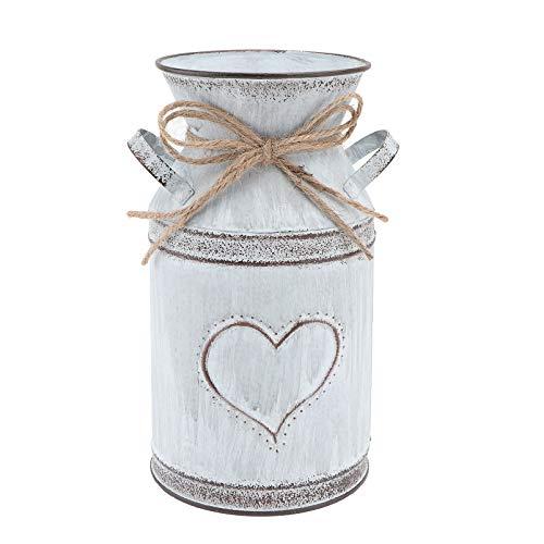 Cabilock Vintage Blumentopf Eisen Blumenvase Rustikale Shabby Deko Herz Milchkanne Landhausstil Vase mit Griff für Blumensträuße Neujahr Party Tischdeko Gartendeko Hochzeit Mittelstücke