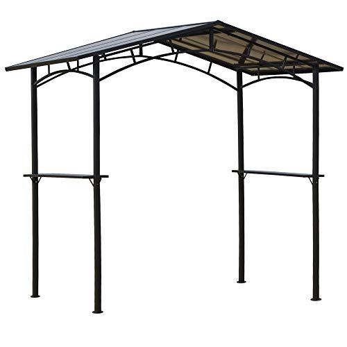 Outsunny Pérgola de Barbacoa 246x149x230 cm de Aluminio Gazebo Cenador con 2 Estantes para Jardín Patio Terraza Fiestas Protección Solar Negro