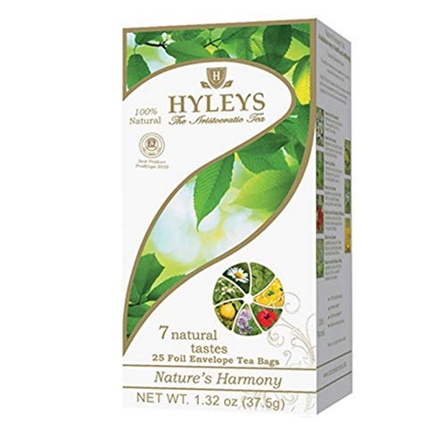12 Pack of Hyleys Nature's Harmony Collection Assorted Tea with 7 Natural Tastes - 25 Tea Bags (GMO Free, Gluten Free, Dairy Free, Sugar Free and 100% Natural)