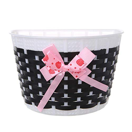 MKLS 1Pc Plastic Knitted Bow Knot Front Handmade Bag Bicycle Scooter Basket For Children Bike,Black