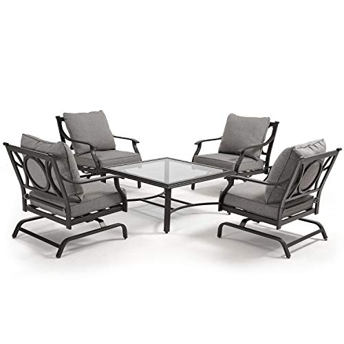 Grand patio 5 Piece Outdoor Furniture Conversation Set, Full Cushion Chairs with Square Table