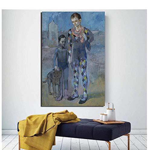 Póster Obras de Arte 30x50cm Sin Marco Pablo Picasso Dos acróbatas con un Perro Arte de la Pared Pintura al óleo Impresión en Lienzo Pintura Sala de Estar Decoración para el hogar