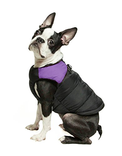 Gooby - Padded Vest, Dog Jacket Coat Sweater with Zipper Closure and Leash Ring, Purple, X-Large