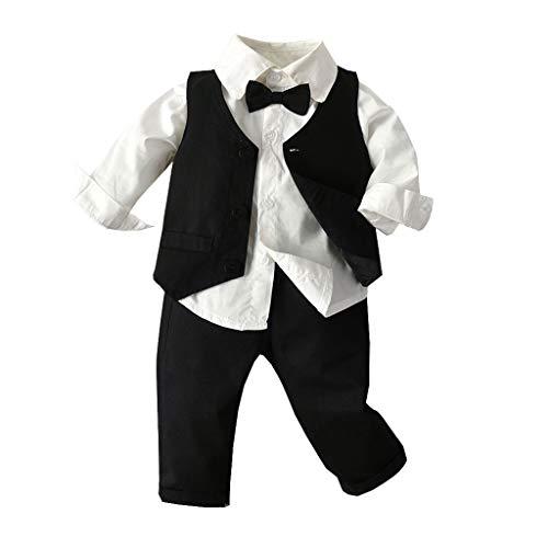 Baby Junge Taufe Kleidung,TTLOVE Kleinkind Boys Gentleman Fliege Krawatte Hemd T-Shirt Tops + HosenträGer Hosen Outfits Bekleidung Set,Kinderkleidung Herbst Hochzeit Festlich Anzug(Schwarz,80)