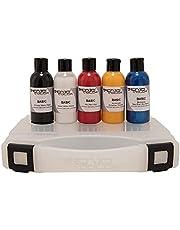 Senjo Color ® Airbrush Kleurset voor gezicht & lichaam Dermatologisch geteste kleuren - 5 kleuren in een set: Zwart, Wit, Rood, Geel & Blauw
