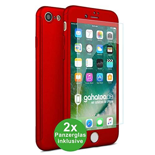 CASYLT iPhone 7 & iPhone 8 Hülle [inkl. 2X Panzerglas] 360 Grad Fullbody Premium Handy-Hülle Rot kompatibel für iPhone 7/8 Komplettschutz Hülle