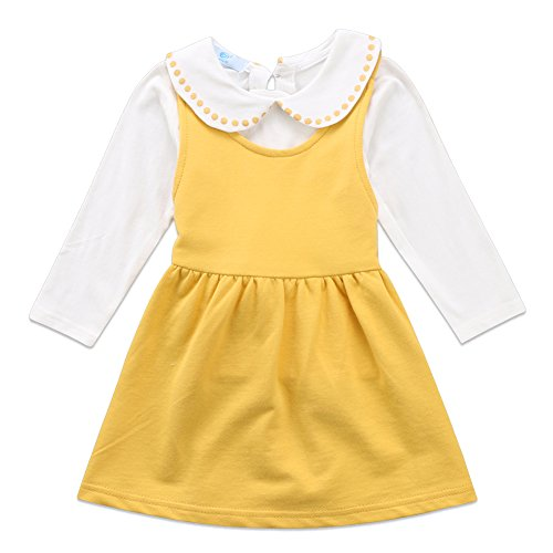 Canis Toddler Baby Girls Doll Collar Long Sleeve Ruffle Top and Overall Skirt Outfit Set (Yellow, 1-2T)