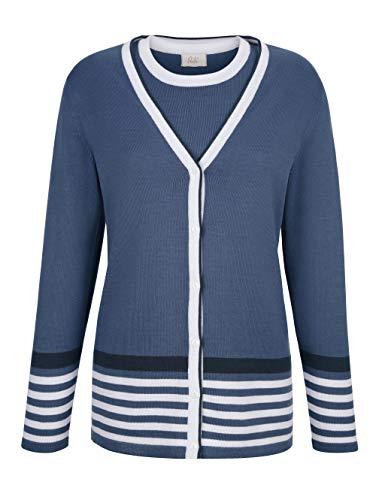 Paola Damen Twinset in Blau aus Baumwolle mit Streifen