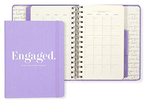 Kate Spade New York Undated Wedding Planner Organizer Weekly and Monthly, Bridal Appointment Calendar Book, Engaged (Purple)