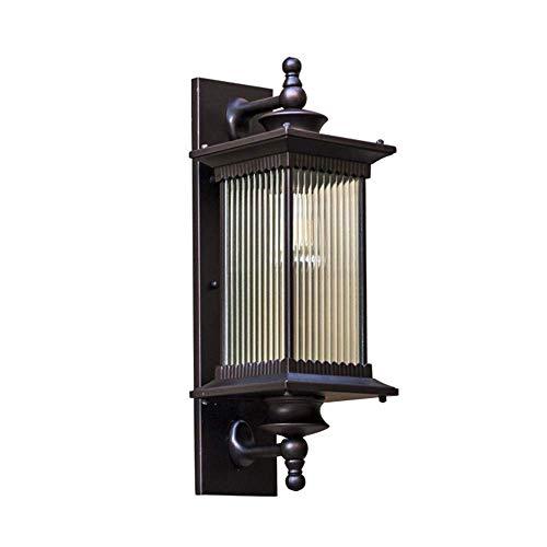 Retro LED wandlamp buitenlamp waterdicht gegoten aluminium zwart glas IP54 buitenlamp wandverlichting tuinverlichting kroonluchter ingangsverlichting 22 * 20 * 58 cm
