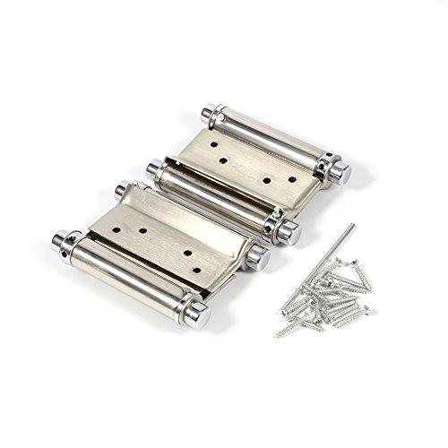 2 pezzi in acciaio inox a doppia azione della molla Cerniera 3 pollici per Saloon Cafe Porta Negozio per porte a battente - Argento