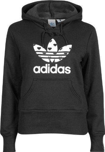 adidas Damen Kapuzenpullover Trefoil Hearts, black/running white, 38, W67911