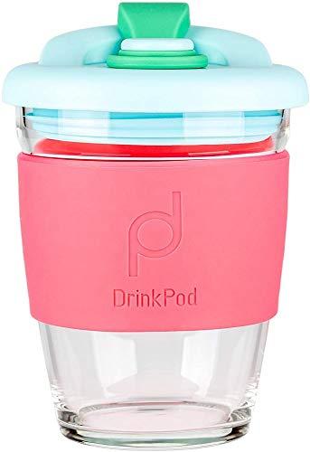 DrinkPod - Taza de café reutilizable sin BPA, 340 ml, de cristal,...