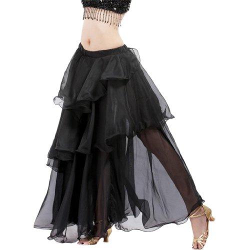 Hee Grand Damen Frauen Sexy Chiffon Bauchtanz Roclk Belly Dance Skirt Schwarz