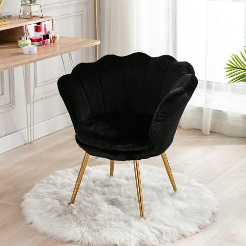Wahson Sessel für Schlafzimmer Weicher Kunstpelz Armlehnstuhl mit Vergoldeten Metallbeinen,Freizeitsessel für Wohnzimmer/Vanity (Schwarz)