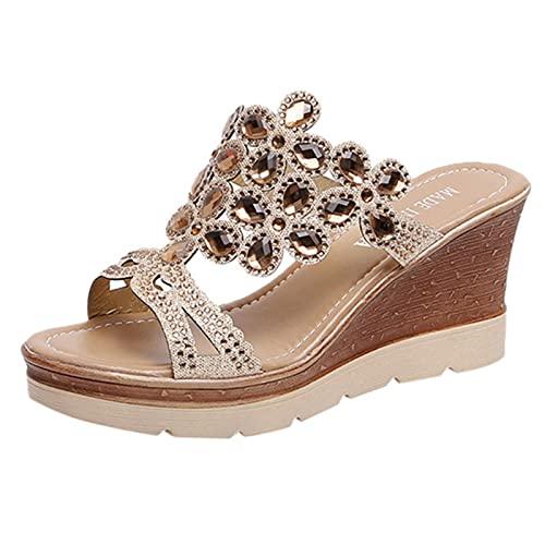 DZQQ Chaussures compensées Femmes Peep Toe Chaussures de Plage Respirantes été Sandales Sexy Strass sans Lacet Dames Chaussures compensées