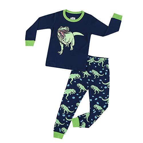 Jungen Schlafanzug Kinder Dinosaurier Pyjamas Sets Dino Zweiteiliger, Marine, Gr.- 5 Jahre