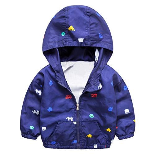 Dinokids Dinokids baby-Junges Karikatur-Auto-Druck Herbst Jacke Lässige Zipper Hoodies-Mantel 90cm 2-3t Marine