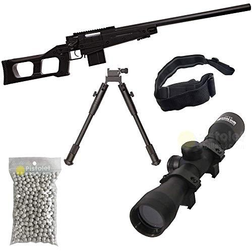 Airsoft Paquete Completo con Accesorios - Arma para Airsoft, Swiss Arms Modelo S.A.S 08 BK Sniper, con Resorte, 0,5 Julios, Color Negro, Recarga Manual