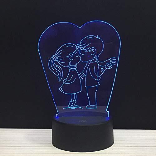 KESS PAAR 3D nachtlampje optische illusie, 7 kleurverandering, touch board bureaulamp voor kinderen geschenken verjaardag Kerstmis slaapkamer decoratie