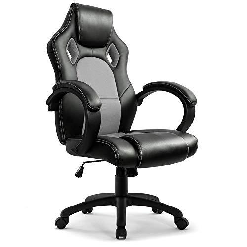 IntimaTe WM Heart Gaming Stuhl, Hoch Rücken Bürostuhl Ergonomisch, PU Kunstleder Racing Sportsitz Drehstuhl (Grau)