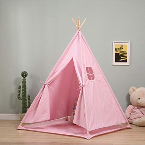 Vanimeu Foldable Pink Teepee Tent with Floor Mat Portable Indian Cotton Canvas Wigwam Tipi Playhouse for Princess Girls Indoor Outdoor (Pink)