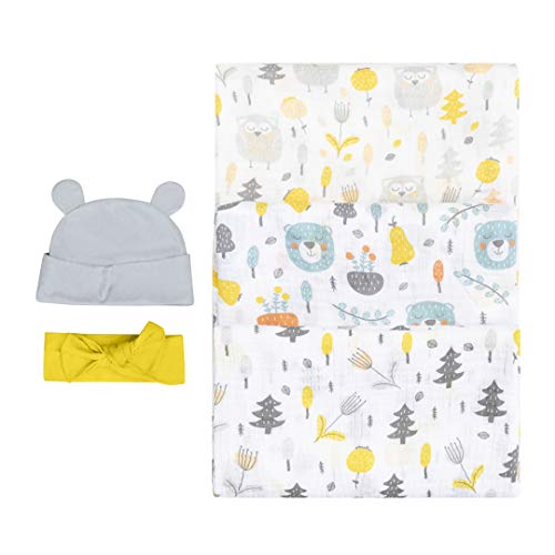 Bubzi Co Woodland Swaddle Muslin Receiving Blankets Set Pack of 3 –Gender Neutral Design -Soft 100% Cotton Fabric - 47 x 47 inch- 120 x 120cm – Infant Swaddling Blankets for Baby Registry Burp Diaper