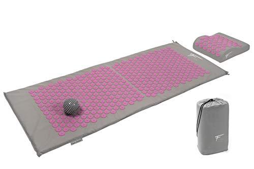 Fitem Kit de acupresión XL - Cojín + Esterilla de acupresión + Bola de masaje - Alivia dolores de Espalda y Cuello - Masaje de espalda - Esterilla: 130 x 50 x 2,5 cm, cojín: 30 x 23 x 10 cm