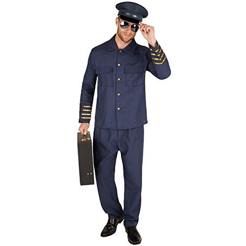 TecTake dressforfun Herrenkostüm Pilot | Uniform bestehend aus Piloten-Jacke und Hose (XXL | Nr. 301443)