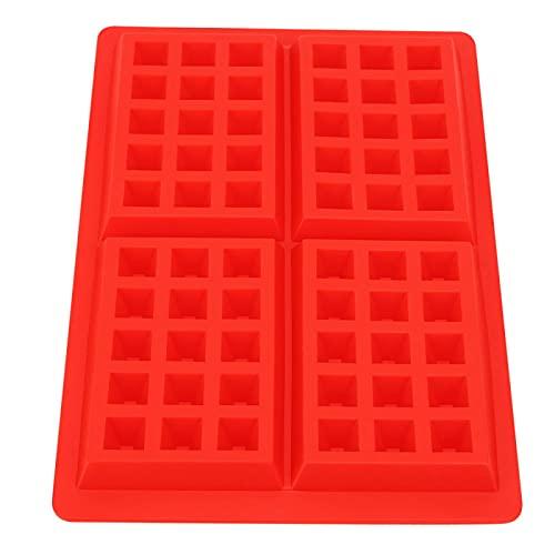 Waffle Maker Rectángulo Waffles Molde de hornear Calor para galletas para el desayuno (rojo)