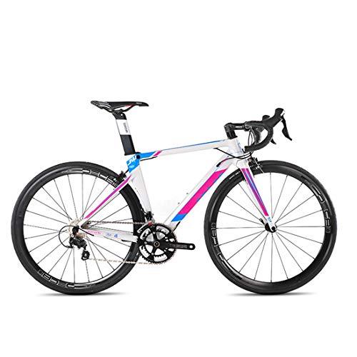 MICAKO Aluminiumlegierung Rennrad 700C Aluminiumlegierung Rennräder Fahrrad mit SHIMANO-22 Speed Schaltgruppe 700C Reifen,Weiß,48cm