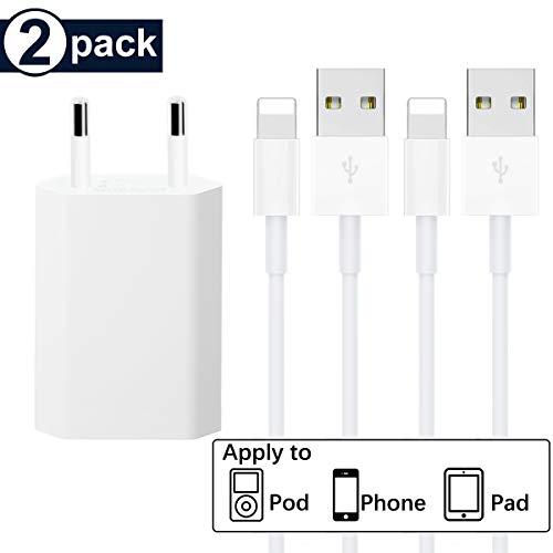 LYLBD [MFI certifié] 1*Chargeurs Secteur with Câble [2-Pack-1M], Adaptateur USB Universel Mural & Chargeur Phone pour iPhone XS,XR,XS Max,X,8,8 Plus,7,7 Plus 6s Plus