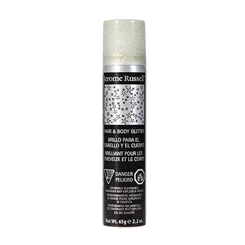 Jerome Russell Temporary Hair and Body Glitter Color Spray, Travel Spray, Lightweight, Adds Sparkly Shimmery Glow, Perfect to use On Hair, Skin, or Clothing, 2.2 oz - SILVER x 1 Pack