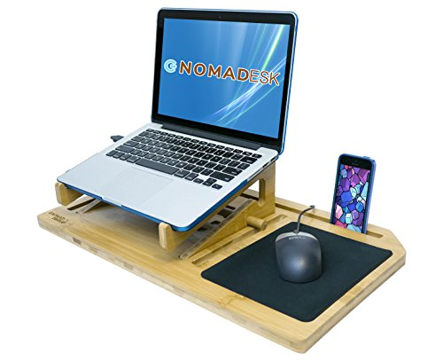 "GNOMADESK ErgoLap Premium Bamboo Slate Student Lap Desk for 13""- 17"" Laptop Multitasking Lapdesk Tablet Smartphone Holder with Built-in Removable ergonomic Stand, Mouse Pad & Cooling Air Ventilation"