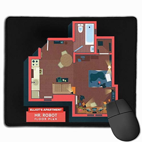Mauspad Mr t Elliots Apartment Grundriss Schreibtisch Mousepad 11,8x9,8 Zoll rutschfeste Gummibasis, Tastaturpadmatte für Computer/Laptop
