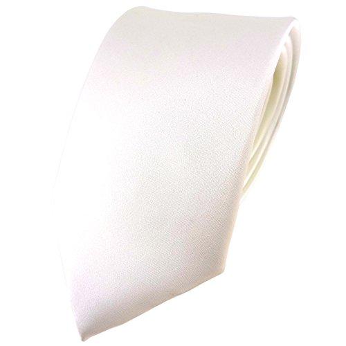 TigerTie Satin Seidenkrawatte in creme weiss einfarbig Uni - Krawatte 100% Seide