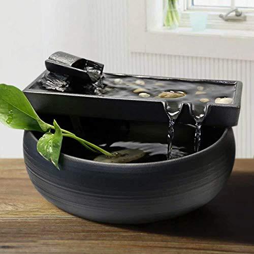 HFFFHA Garten-Brunnen-Keramik Wasser Desktop-Wasser-Eigenschaft Zen-Brunnen Indoor-Wasser-Brunnen for Den Garten Feng Shui Innen Ornaments Zimmerbrunnen Glückliche Wassertank Fish Tank Small Gift Zen